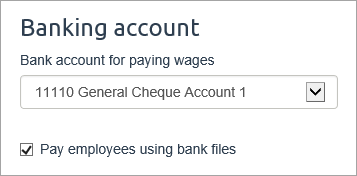 Pay employees using bank files option selected