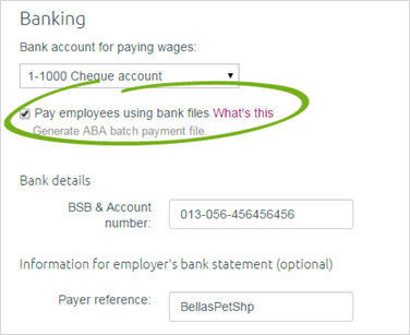 how to find banking details in myob