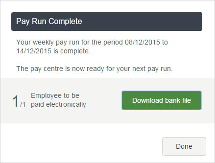 pay run complete message with download bank file button