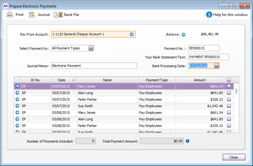 Prepare electronic payments window with multiple payments listed