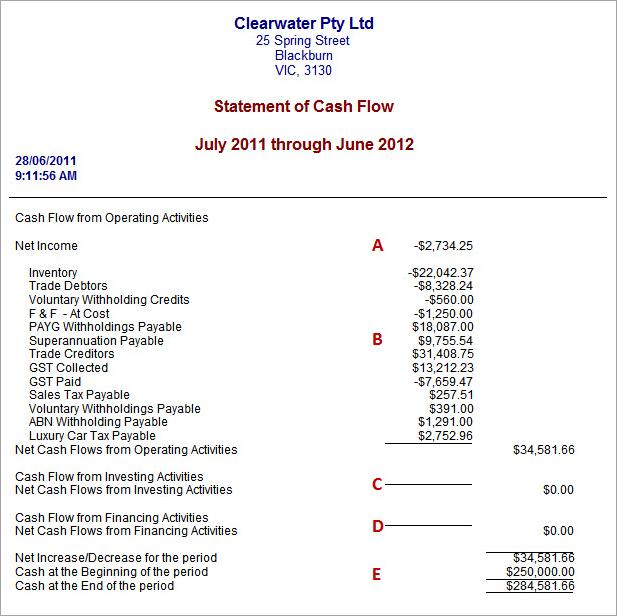 statement of cash flow report