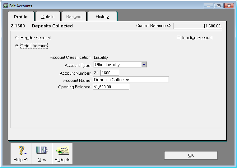 Example liability account for deposits collected