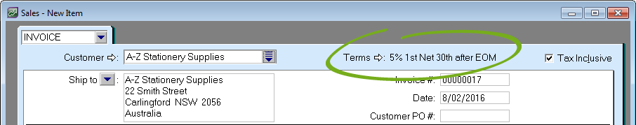 Invoice with credit terms highlighted