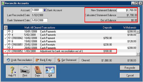 how to change reconciled accounts in myob