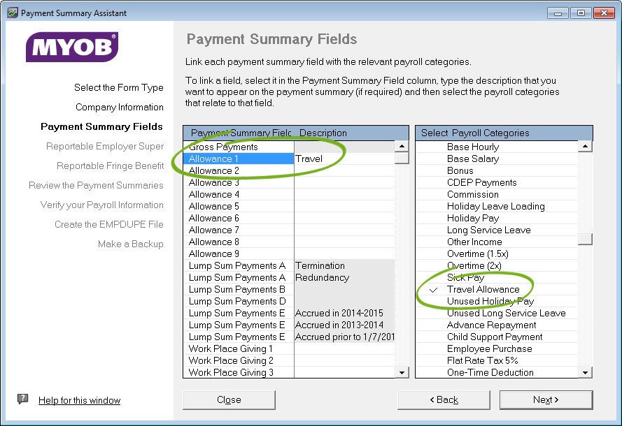 Payment summary setup with travel allowance category linked to allowance 1 field