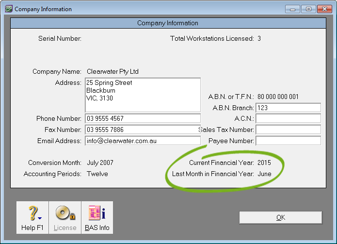 company information window with current and last financial year info highlighted