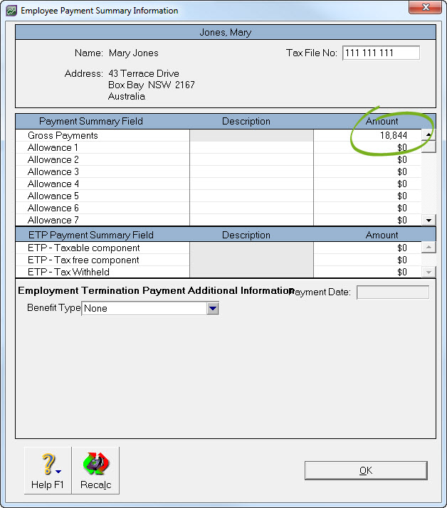 Employee payment summary information window with gross payment amount highlighted