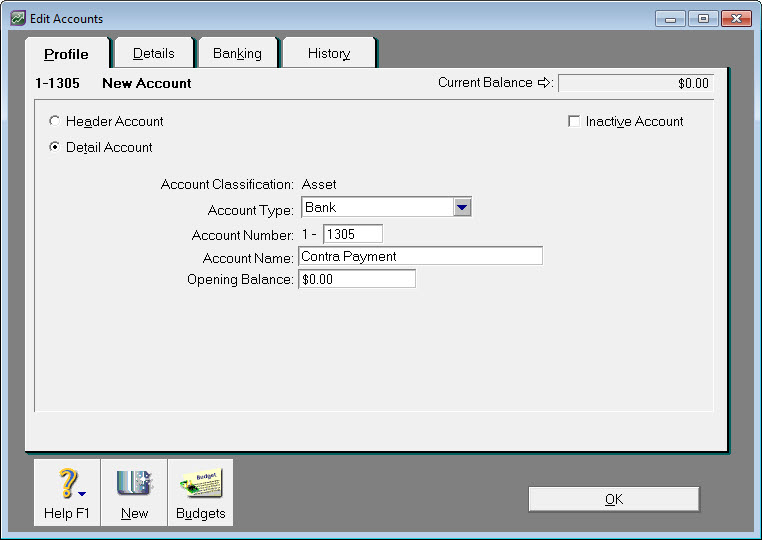 Example contra payment bank account setup