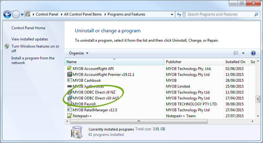 Programs and features window with ODBC driver highlighted