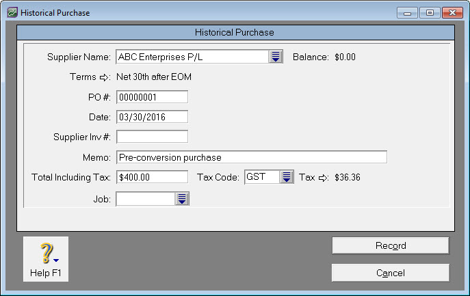 Historical purchase window with sample transaction details