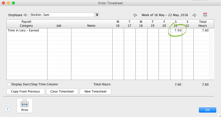 keeping track of hours worked