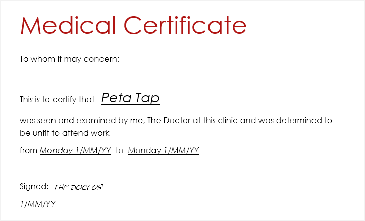 medical certificate template australia