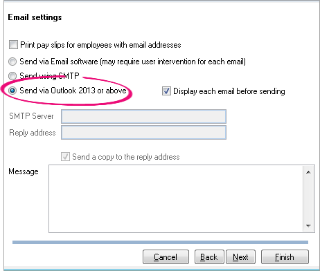 Unable to email pay slips using SMTP - Support Notes: MYOB