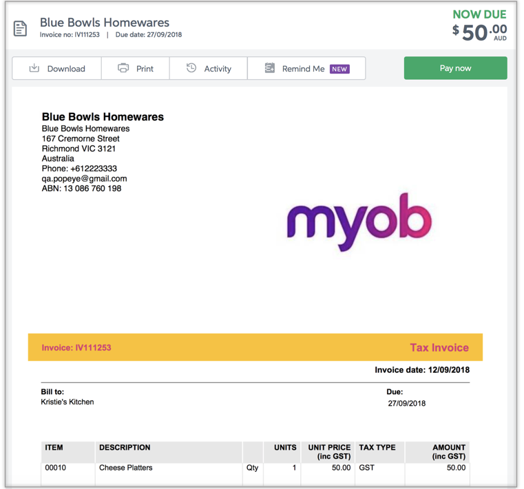 Online Invoicing MYOB Essentials Accounting MYOB Help Centre - Online invoices inc