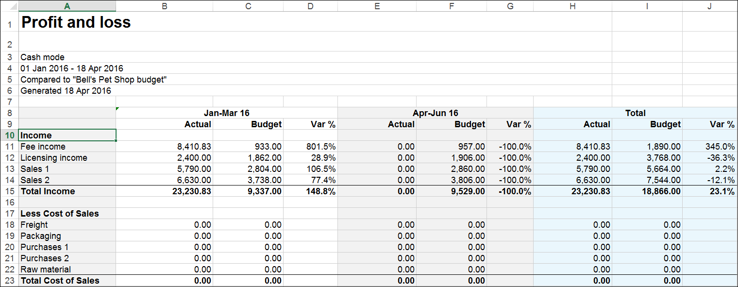 Example profit and loss report in Microsoft Excel