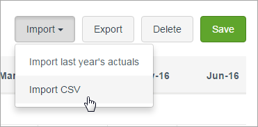Import button clicked with mouse pointer on Import CSV option