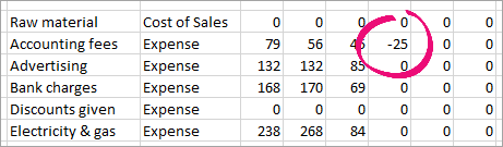 Sample CSV file in Excel with a negative number highlighted