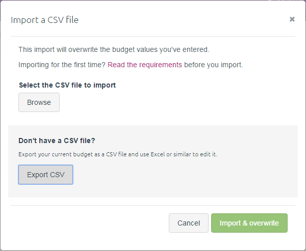 Import a CSV file window with Browse button