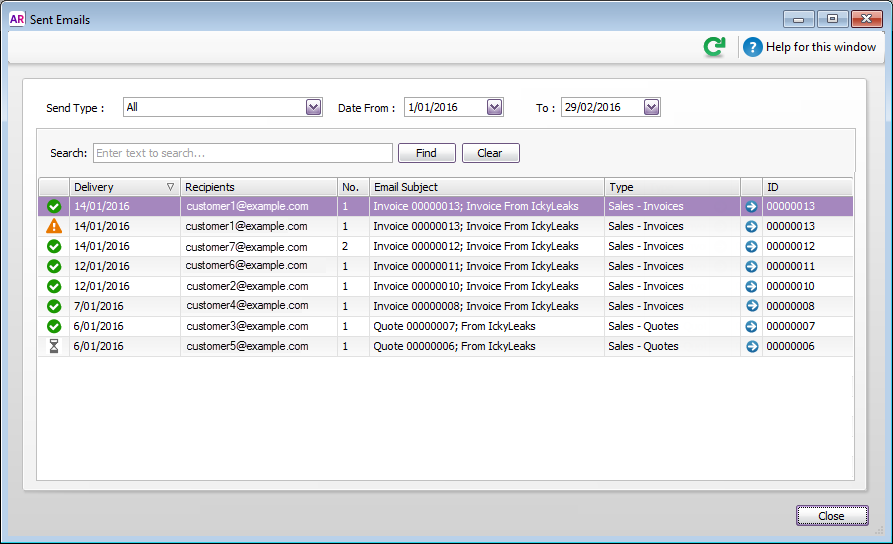 Track email delivery status - MYOB AccountRight - MYOB Help Centre