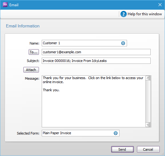 how to send pdf invoice from myob