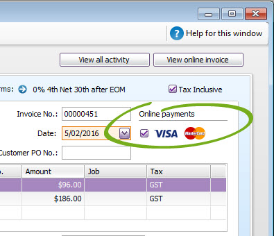 Invoice with online payments option highlighted