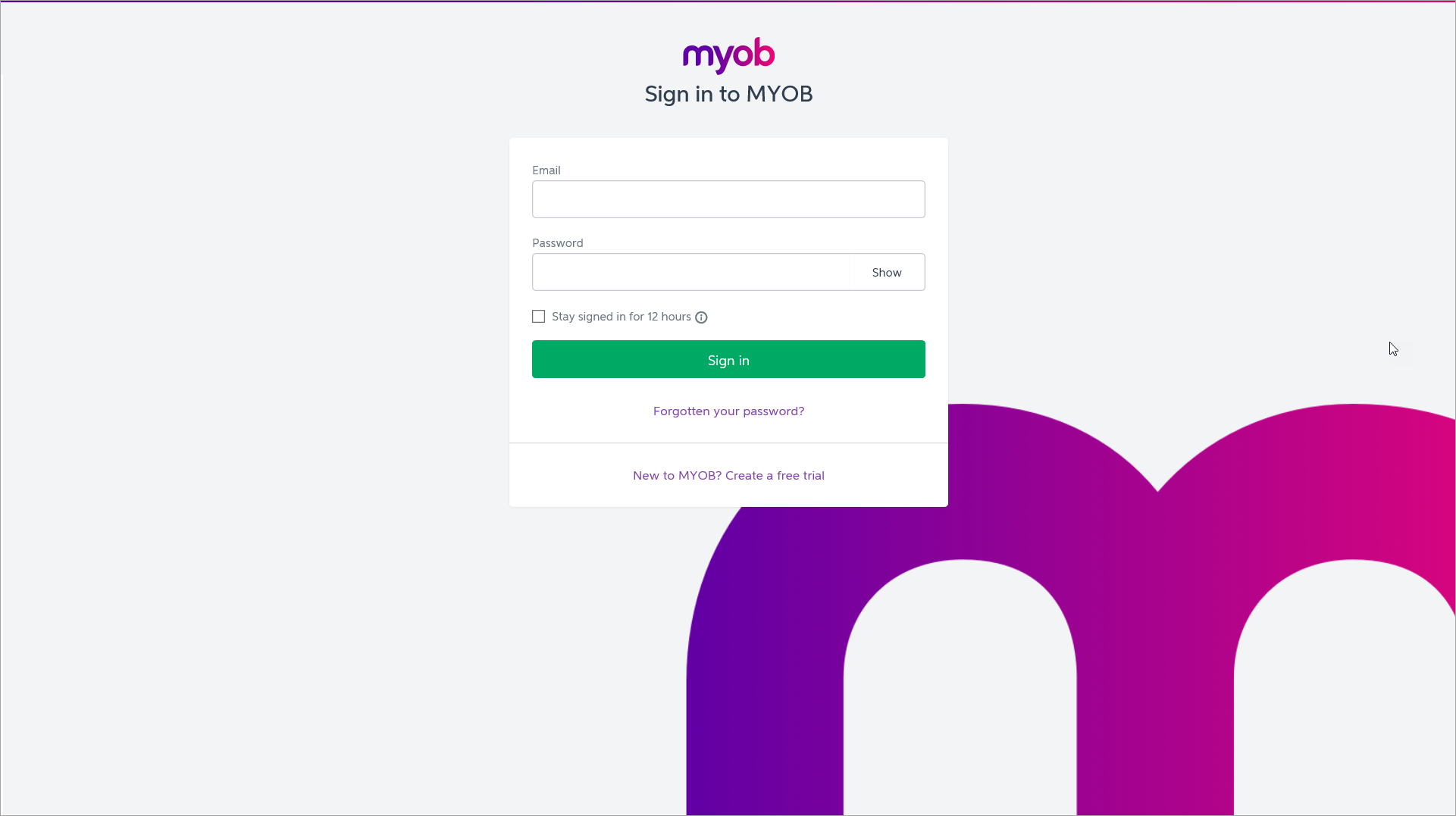 MYOB Essentials log in screen