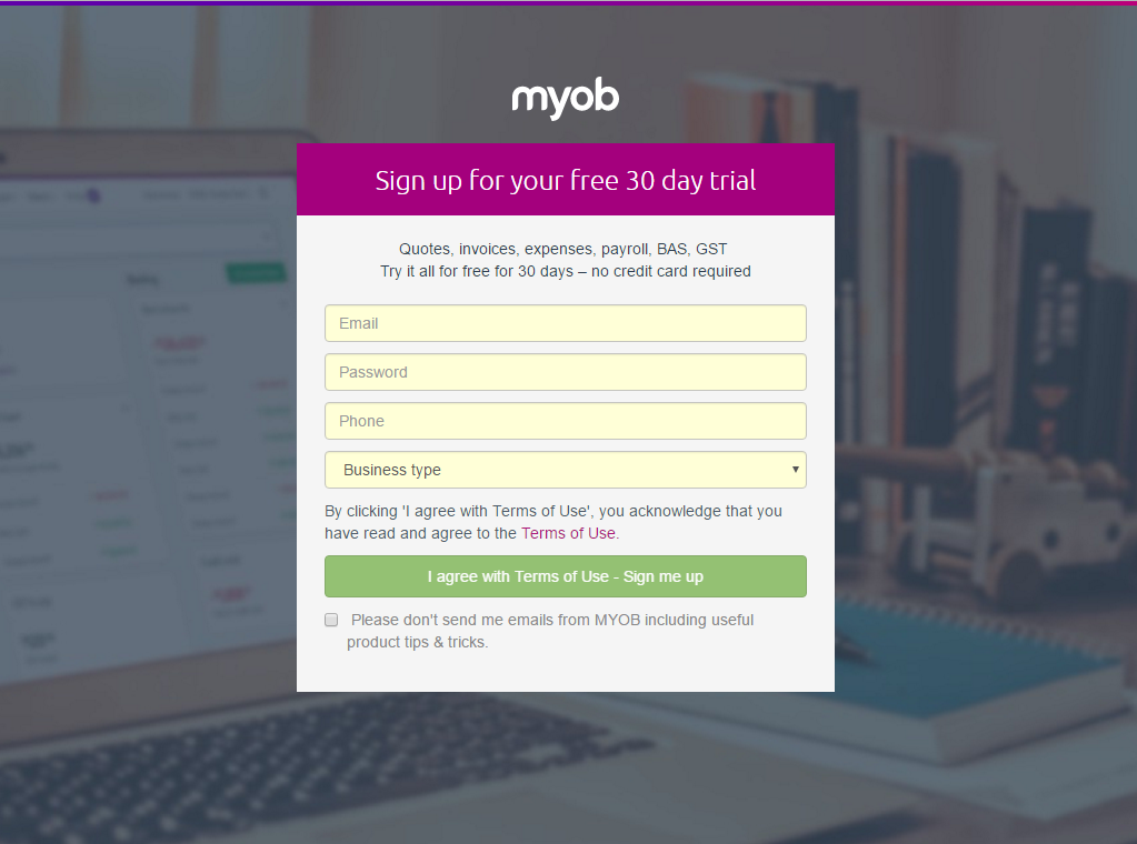 MYOB Essentials sign up screen