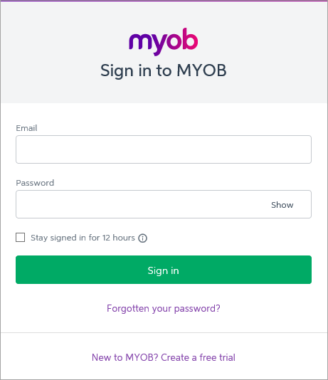 MYOB Essentials sign in page