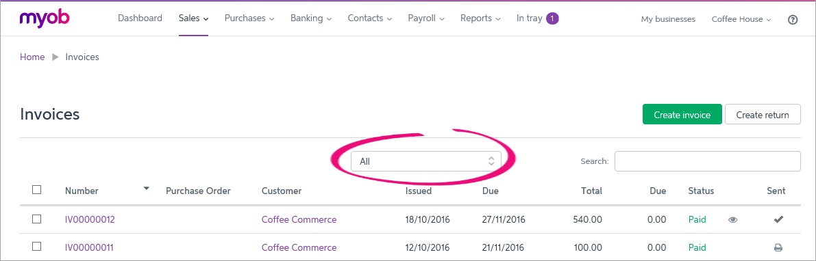 Invoices page with filter field highlighted