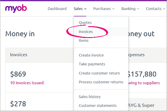 Invoices option on the sales menu