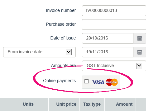 Online payments option highlighted on a new invoice