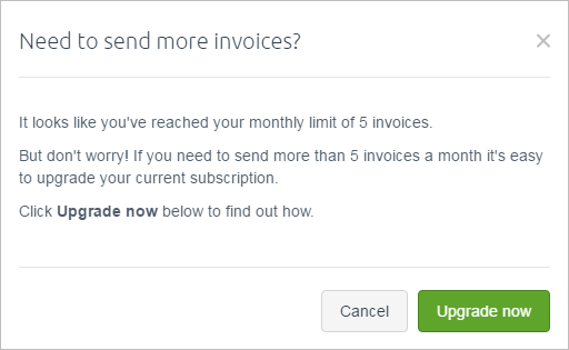 Need to send more invoices popup window