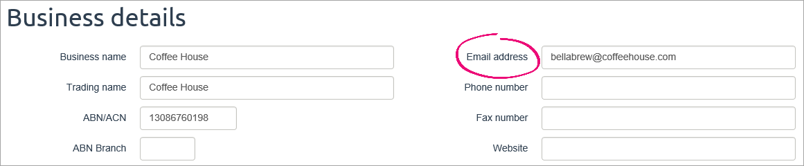 Business details setting with email address field highlighted