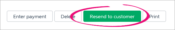 resend to customer button highlighted