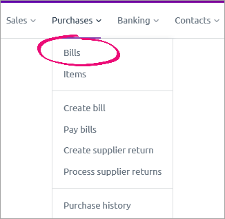 Bills option on the purchases menu