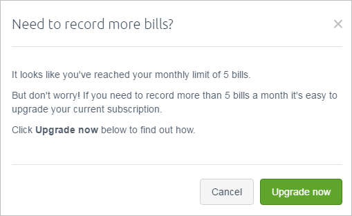 Need to record more bills popup window