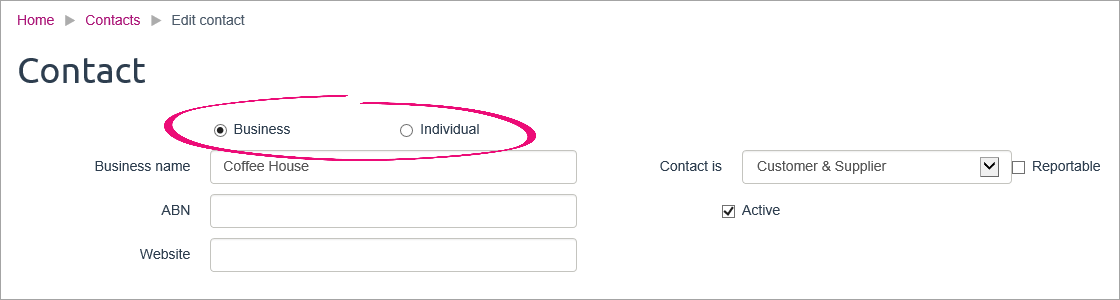 Contact record with business and individual types highlighted
