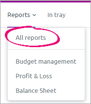Reports menu with all reports option highlighted