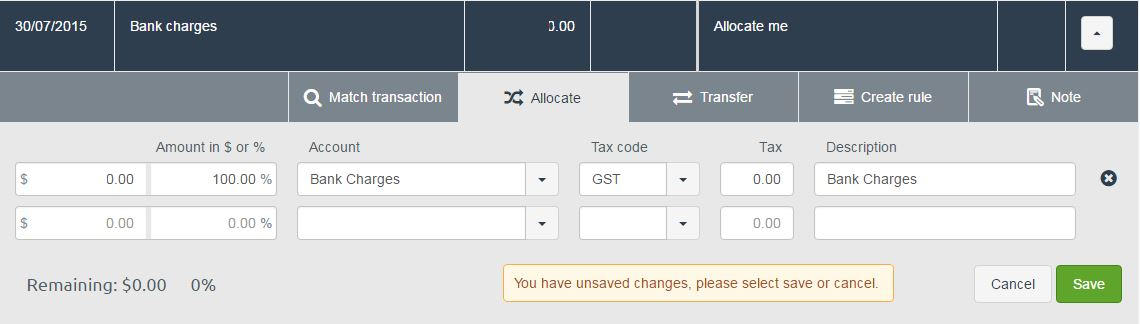 100 percent entered into Amount field when allocating a transaction