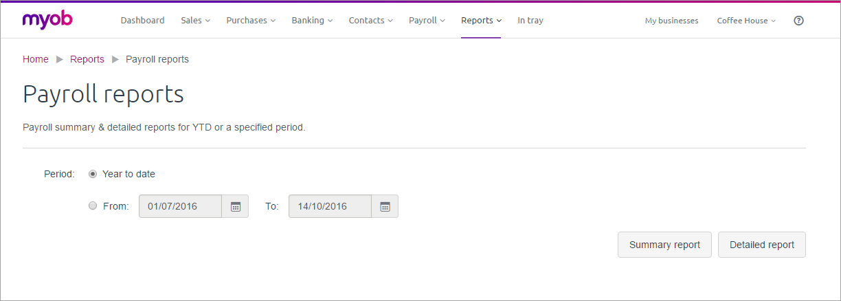 Example payroll reports page