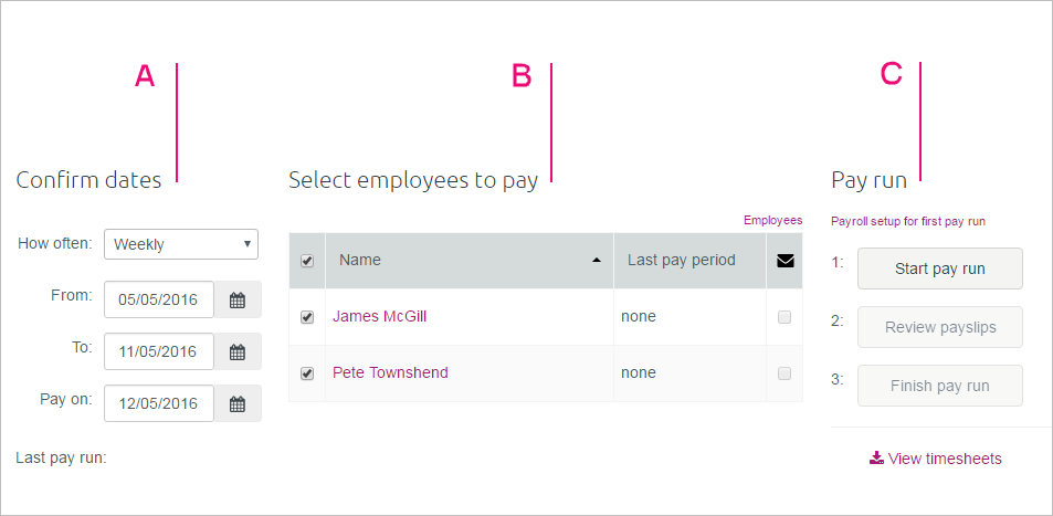 3 areas of the pay centre