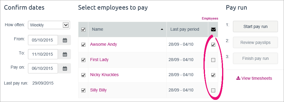 email payslip option selected for 2 employees