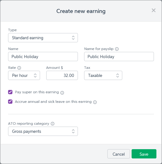 example setup for public holiday pay item