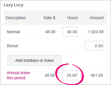 20 hours of leave on pay