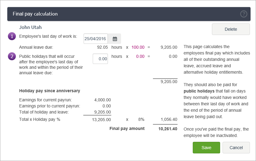 example final pay calculation