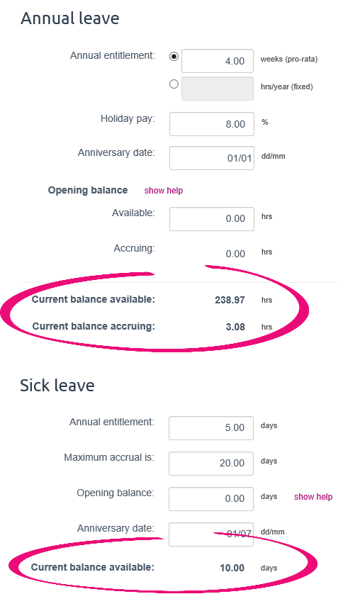 how to show personal leave accural on myob payslip