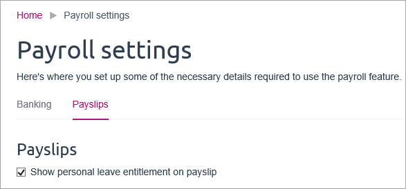 Personal leave on payslips option in payroll settings