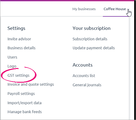 settings menu with GST settings highlighted