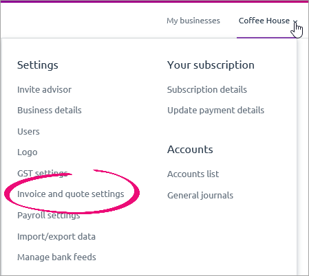 settings menu with invoice and quote settings highlighted