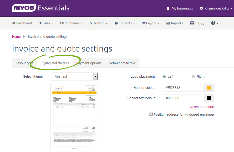 Invoice And Quote Settings MYOB Essentials Accounting MYOB Help - Invoice header template